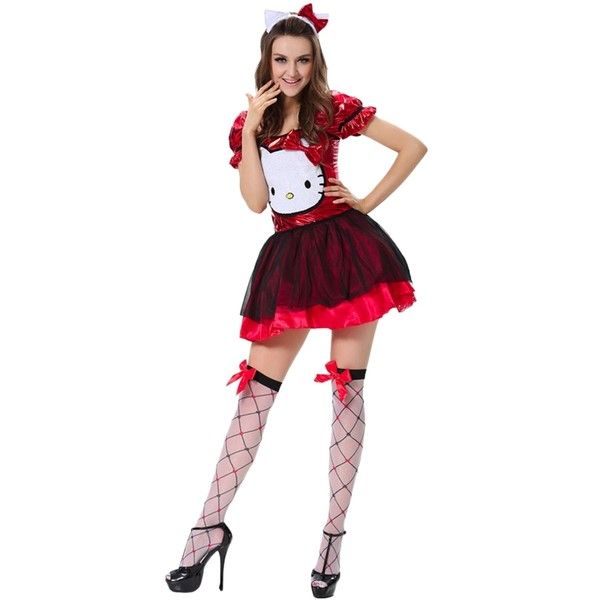 womens hello kitty halloween costume cute red 31 liked on polyvore featuring costumes - Halloween Costumes That Are Cute