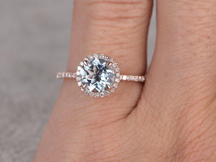 7mm Round Cut Aquamarine Engagement Ring Diamond Wedding Ring 14k Rose Gold Halo Prong Set