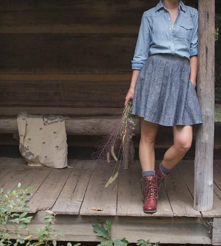 Natchez Organic Chambray Circle Skirt | Women's Clothing | Bow + Arrow | Scoutmob Shoppe | Product Detail