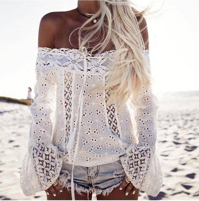 Beach Lace Long Sleeve Blouse