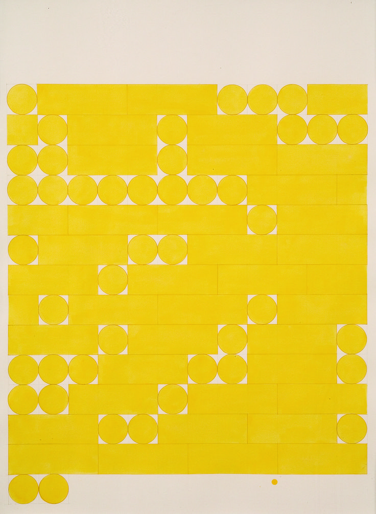 Tauba Auerbach - Morse Alphabet, No Spaces, Yellow 2005. Ink and pencil on paper 76.2x55.9cm.