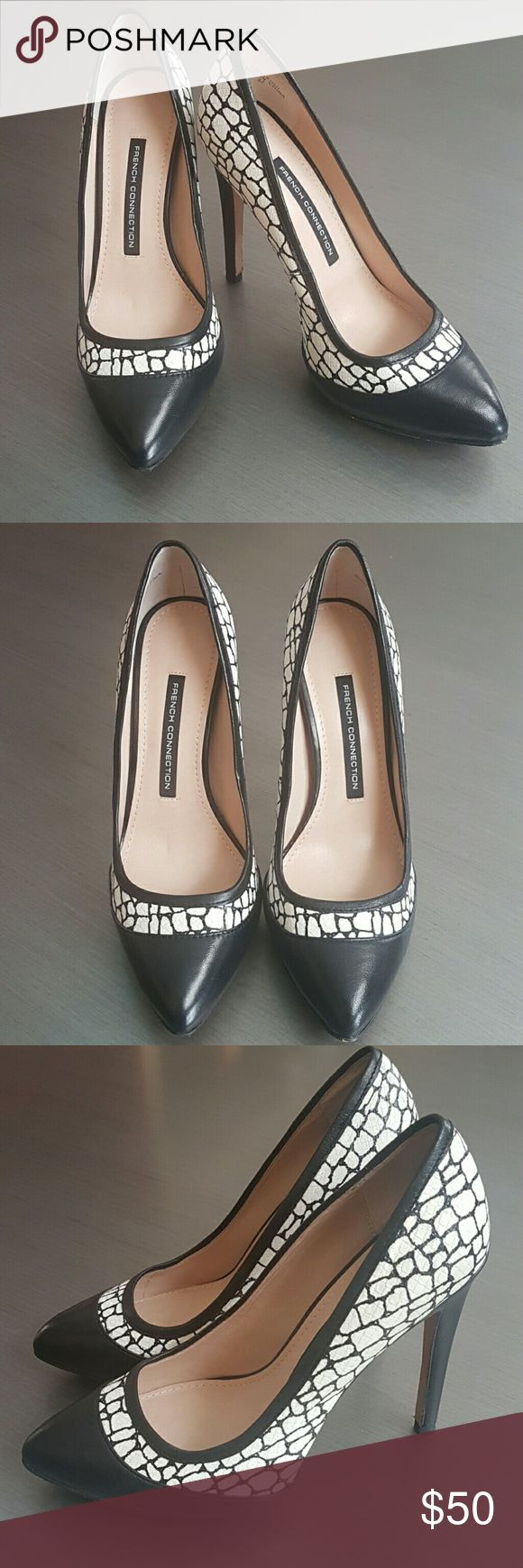"French Connection Black and White Pumps In excellent, like new condition. Only worn once. 4.75"" heel height. Very comfortable even with higher heel height. Listed size is 37, I'm a true 6.5 and it fits me perfectly. French Connection Shoes Heels"