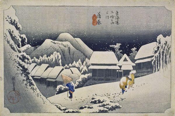 歌川広重《蒲原 夜之雪》
