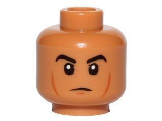 4 sets Medium Dark Flesh BrickLink - Part 3626cpb1353 : Lego Minifig, Head Black Eyebrows, Cheek Lines, Chin Dimple, White Pupils Pattern - Stud Recessed [Minifig, Head] - BrickLink Reference Catalog