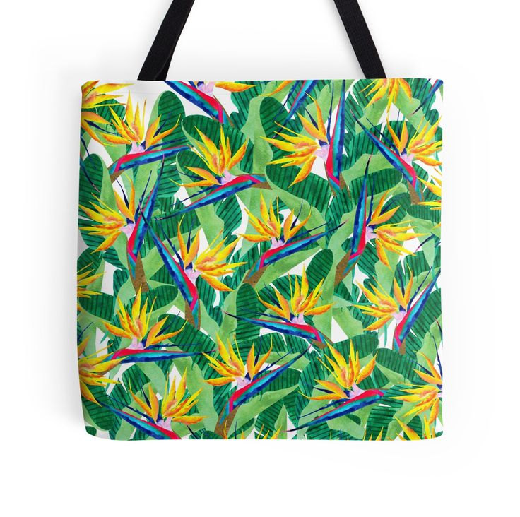 Summer Strelitzia  by amayabrydon Bird of Paradise watercolor pattern. Inspired by nature. @redbubble #art #redbubble #redbubbleartist #birdofparadise #pattern #design #tropical #yellow #flowers #botanical #summer #watercolor #artwork #fashion #trends #bag #totebag