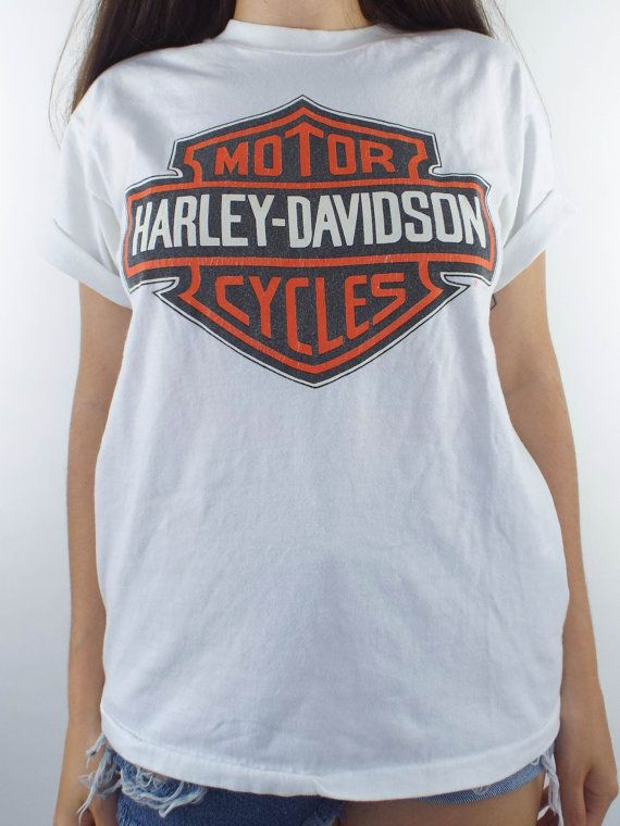 Vintage 90s White Harley-Davidson Logo Tee - Total Recall Vintage