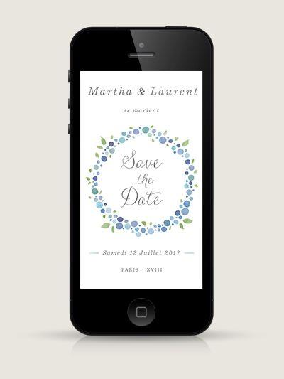 Save the Date électronique Nectar Hortensia pour smartphone, à envoyer par email ou SMS
