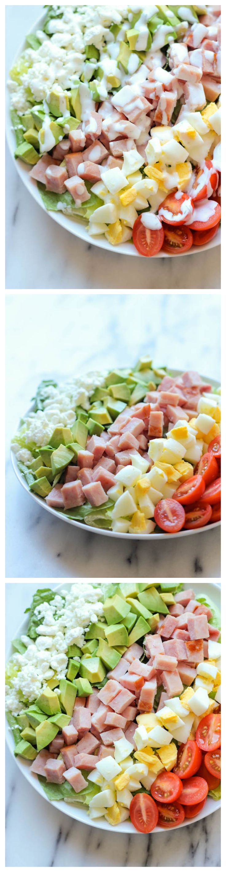 Ham Cobb Salad - Use up your leftover ham in this glorious cobb salad with a healthy Greek yogurt ranch dressing! It's the perfect post-Easter detox!