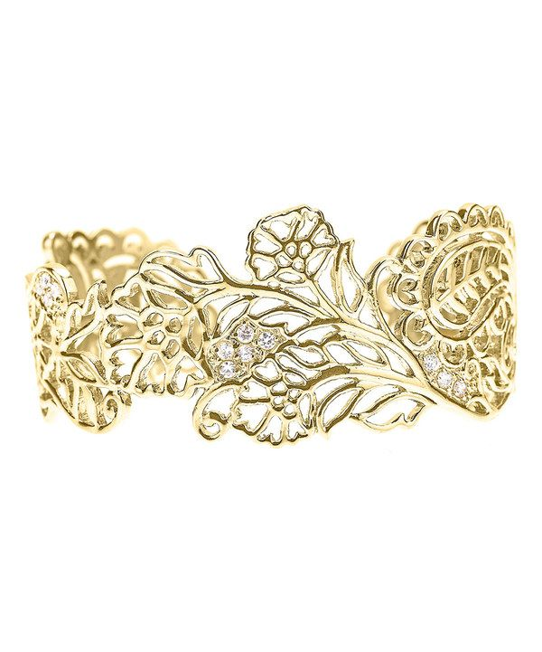Look at this Cubic Zirconia & Gold Henna Cuff on #zulily today!