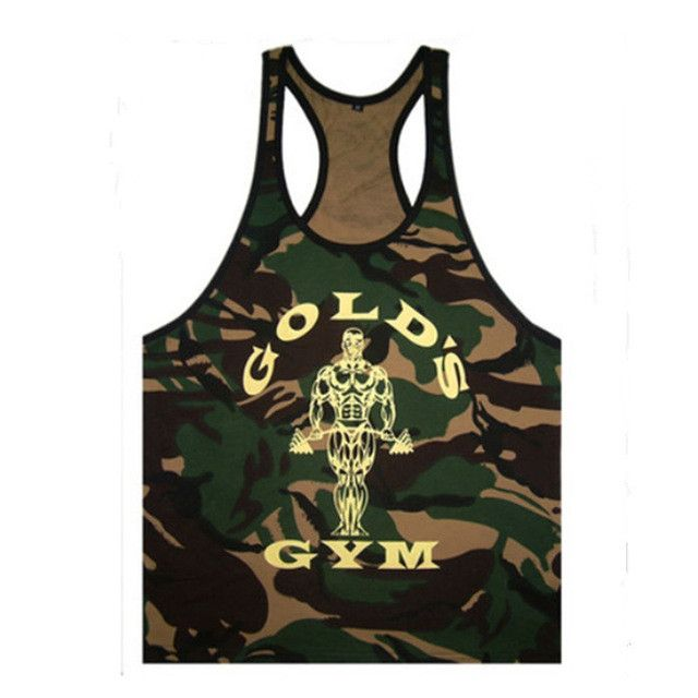 New Golds Mens Fitness Tank Tops Bodybuilding Clothing Brands Singlet Camouflage Mens Stringer Tank Tops Shirt Vest