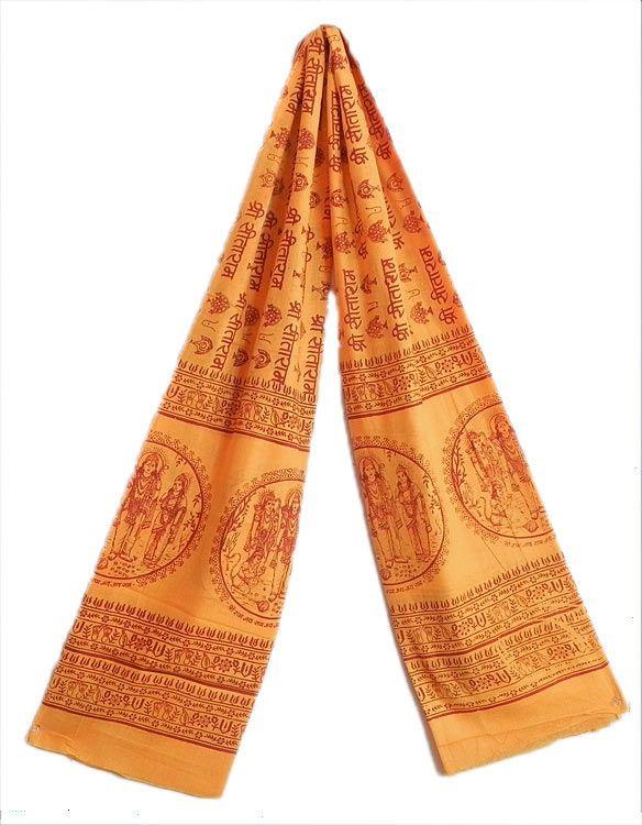 Saffron Namavali with Sri Sita Ram Print (in Hindi) (Cotton)