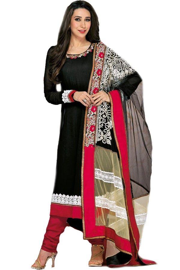 Shop Now - http://valehri.com/salwar-kameez/930-karishma-kapoor-unstitched-georgettenet-salwar-kameez-with-dupatta.html