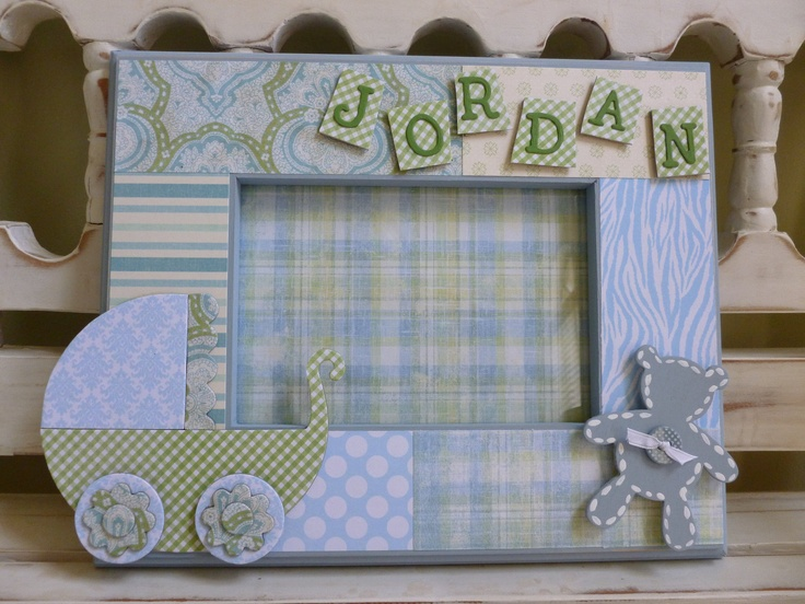 Baby Boy 5x7 Picture Frame New Baby Gift Shower Christening Baptism Personalized Custom Blue Carriage Teddy Bear. $34.00, via Etsy.