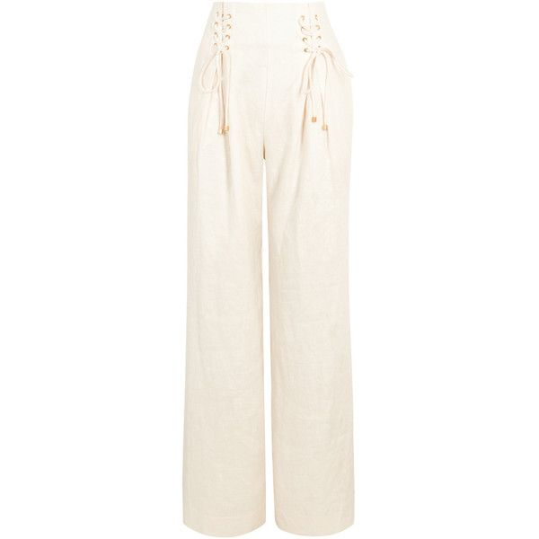 ZIMMERMANN Painted Heart Wide-leg Linen Trousers - Size 2 ($650) ❤ liked on Polyvore featuring pants, white lace up pants, high-waisted wide leg pants, high-waisted linen pants, high waisted wide leg trousers and high waisted white pants