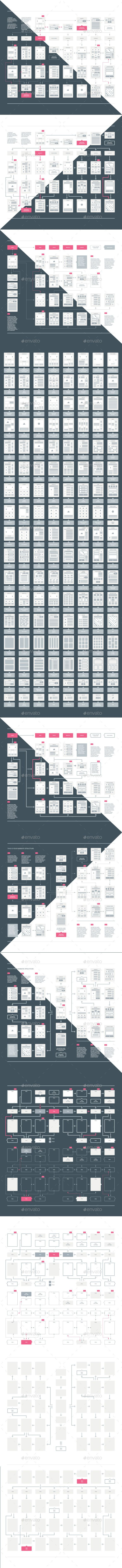 Web Sitemap Userflow & UX Kit Template Vector AI Illustrator. Download here…
