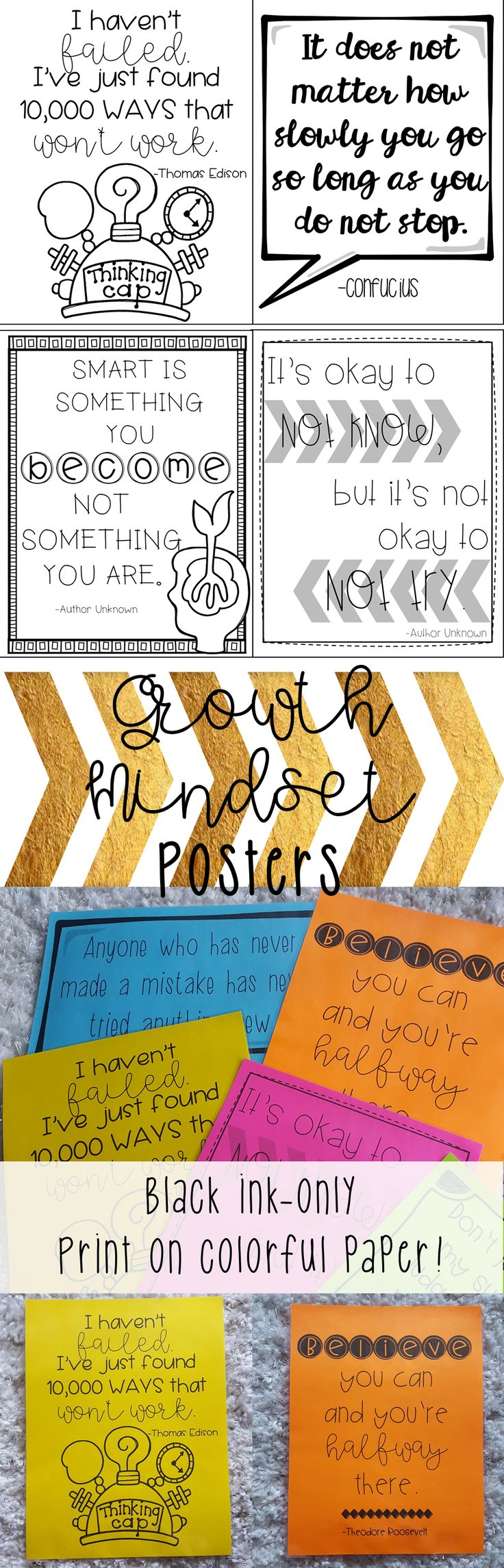 Black-ink growth mindset posters for classroom decor!