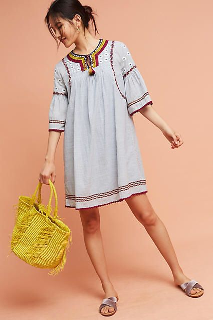 Maeve Yarn Embellished Tunic Dress