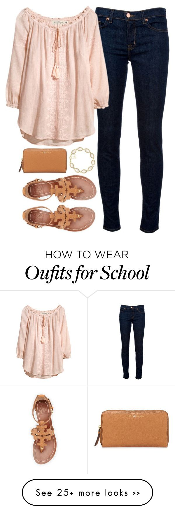 """sandals to school"" by tabooty on Polyvore featuring J Brand, Tory Burch and Kendra Scott"