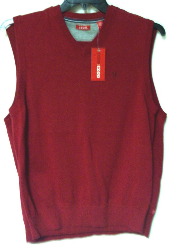 MEN'S IZOD SPRING SWEATER VEST COLOR: RIO RED SIZES: SMALL MEDIUM ...