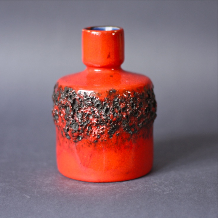 West German Pottery Fat Lava Red Vase by Otto Keramik. €75.00, via Etsy.