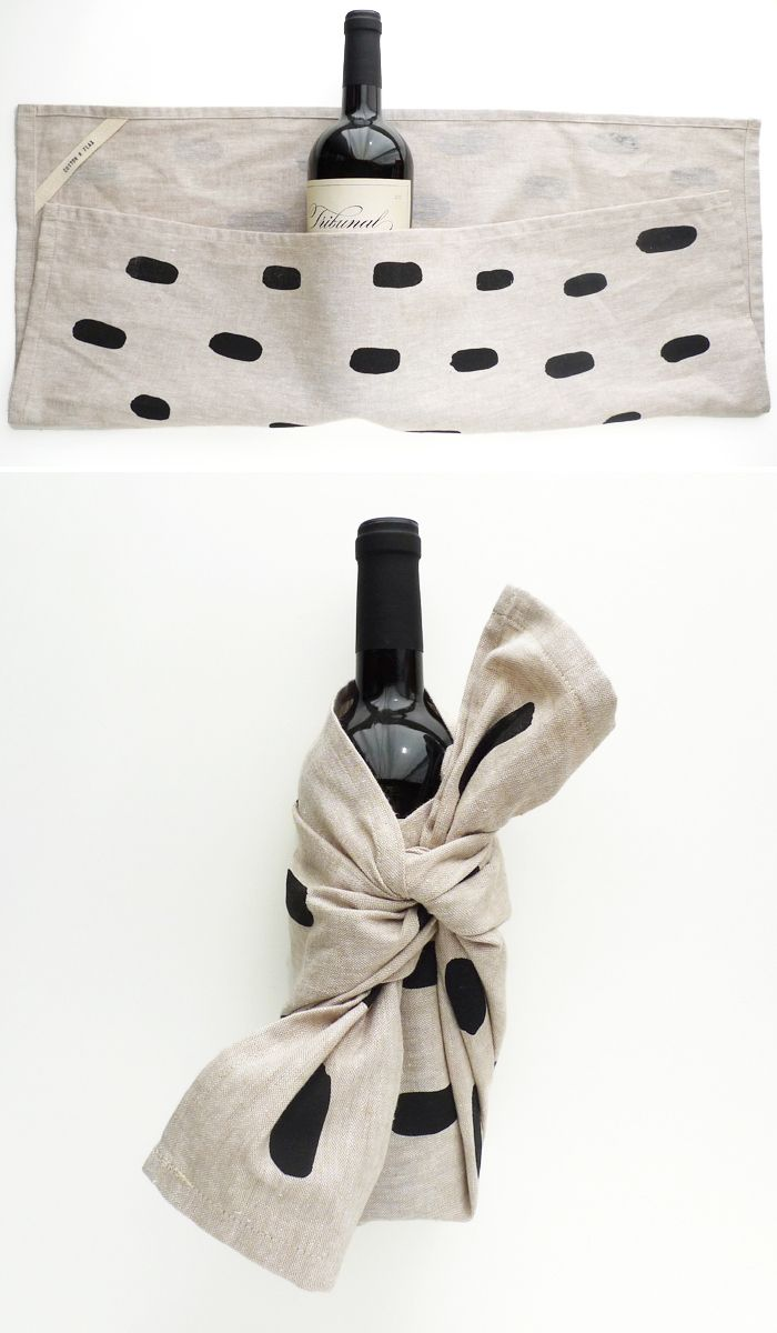 Wrap a bottle of wine with a custom block printed tea towel.  Get your Block Printing Starter Kit here! http://www.darbysmart.com/projects/block-printing