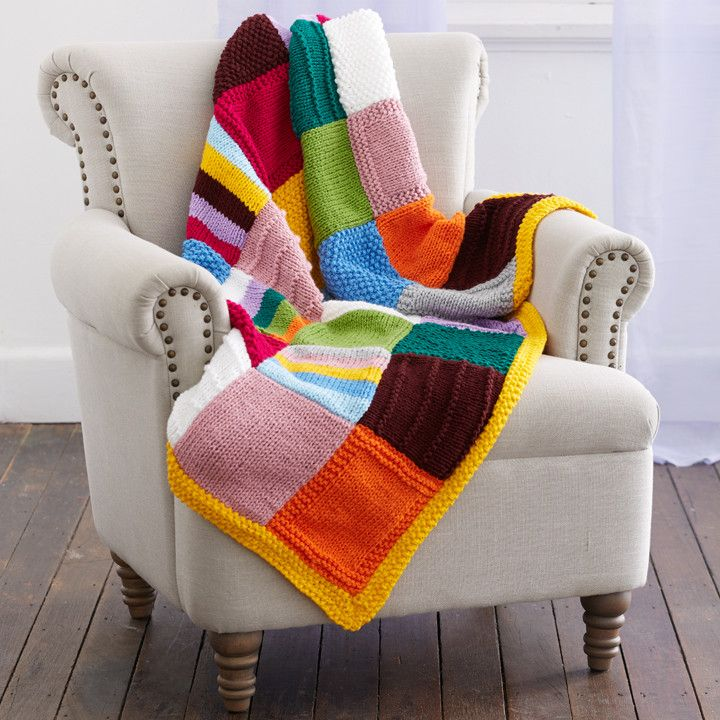 Quick to knit and super easy, this beautiful throw is now available in happy brights. Relax and get happy knitting!