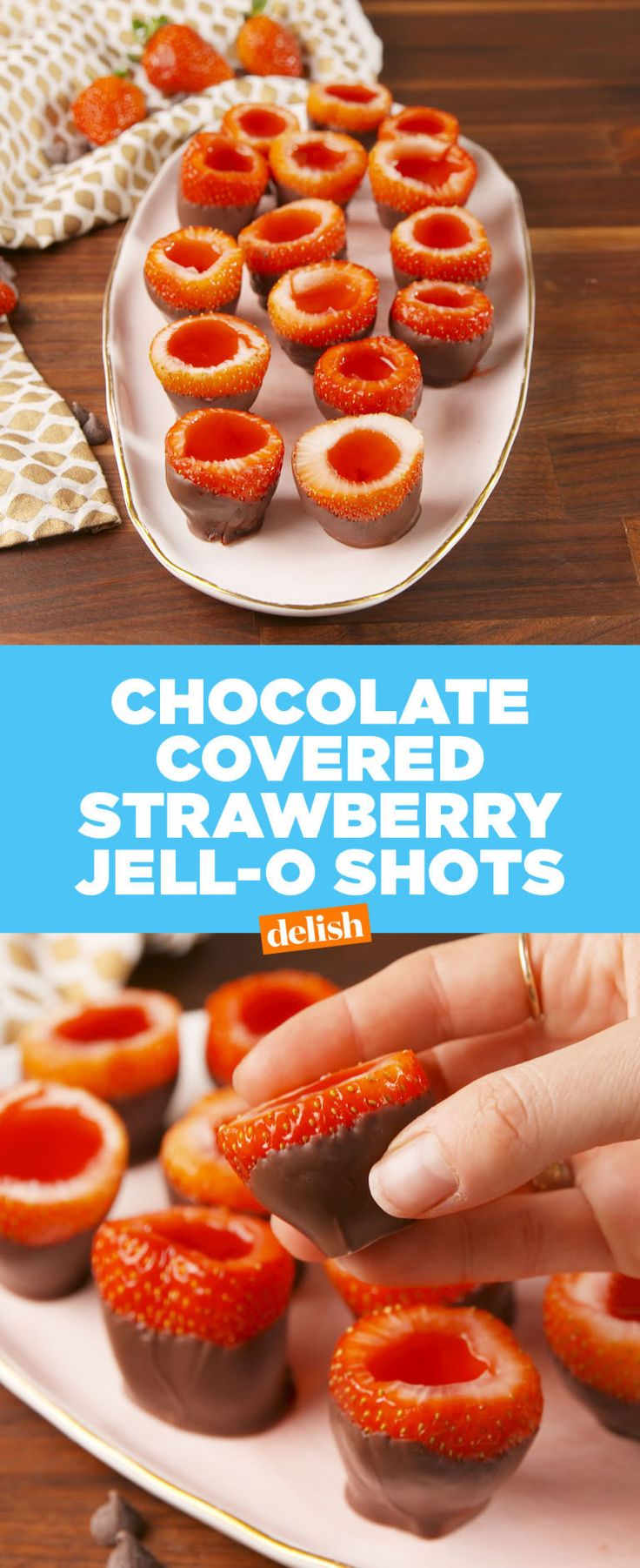 Chocolate Covered Strawberry Jell-O Shots  - Delish.com