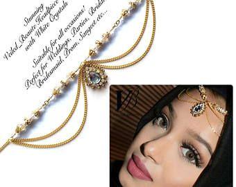 gold head piece , head wear , hair jewelry , eid arabic hijab jewels , chain hair accessories , maang matha patti , indian bridal jhoomer