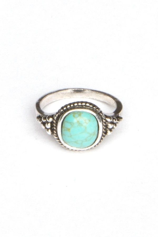 Silver Turquoise Stone Ring $6