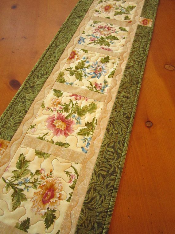 Handmade Quilted Table Runner / Floral Table by PatchworkMountain, $42.00