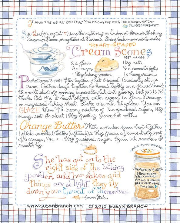 Art by Susan Branch. Heart-shaped cream scones with orange butter