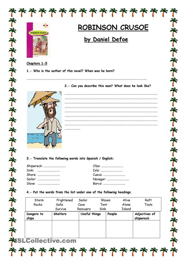 ROBINSON CRUSOE. Reading activities.