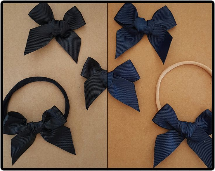 Grosgrain bow headband - navy bow headband -black bow headband - navy bow clip - black bow clip - nylon headband - cute baby headband by BeePiki on Etsy