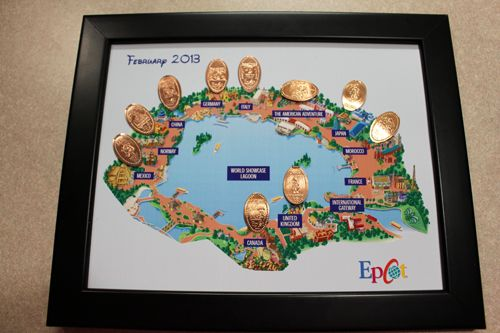 Next I simply glued the pennies by their countries. We went with hot glue for this project and it was super simple. Honestly we completed th...