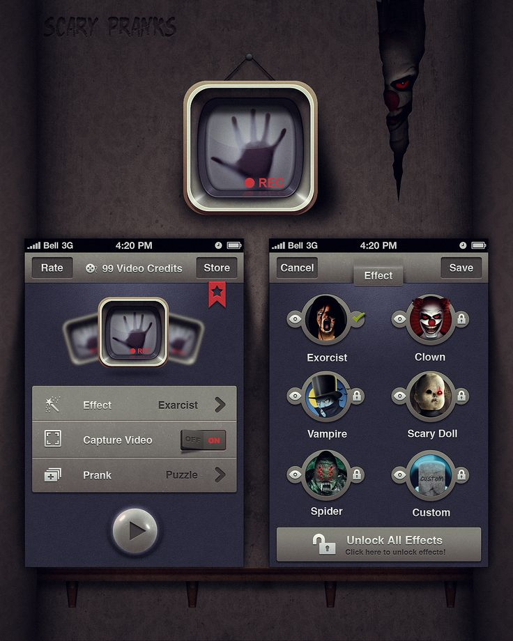 iPhone Design for Novelty Scary App Mobile app by Northwood