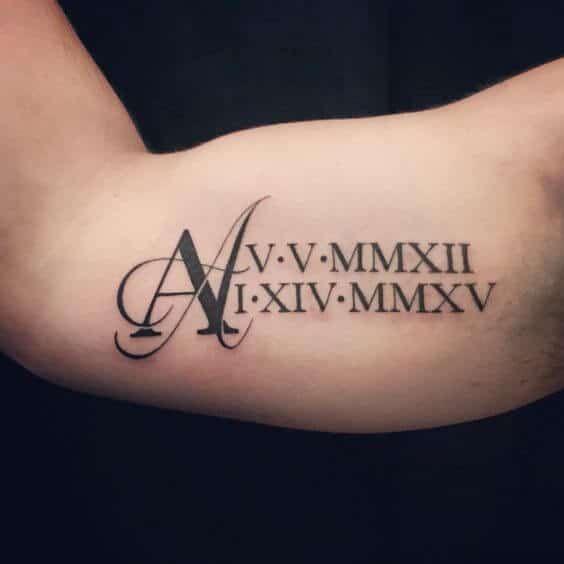 Roman numeral date tattoo in Brisbane