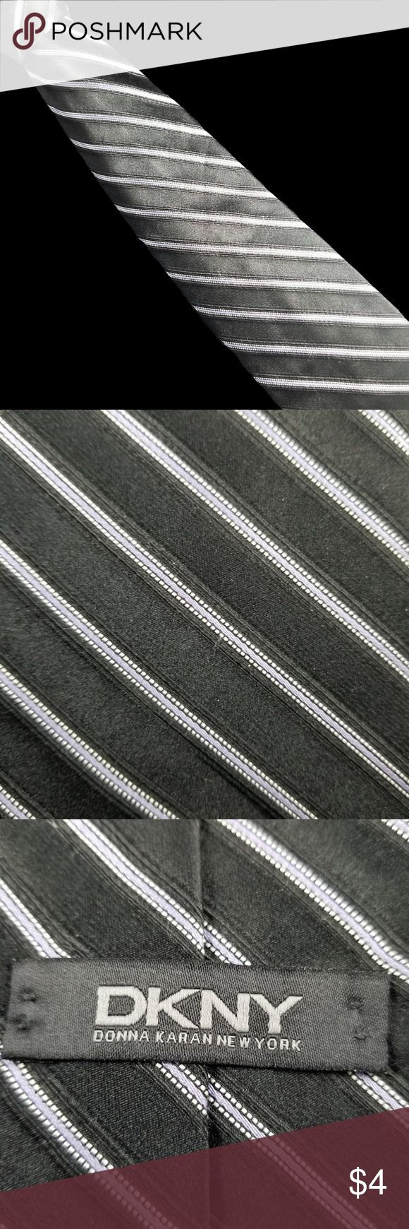 DKNY Mens Tie Black Silver Lavender Stripes 100% silk. Black with lavender silver stripes. Length - Classic:  57 inches. Width - Classic:  3.5 inches. Made in USA. Excellent pre-owned condition. Dkny Accessories Ties
