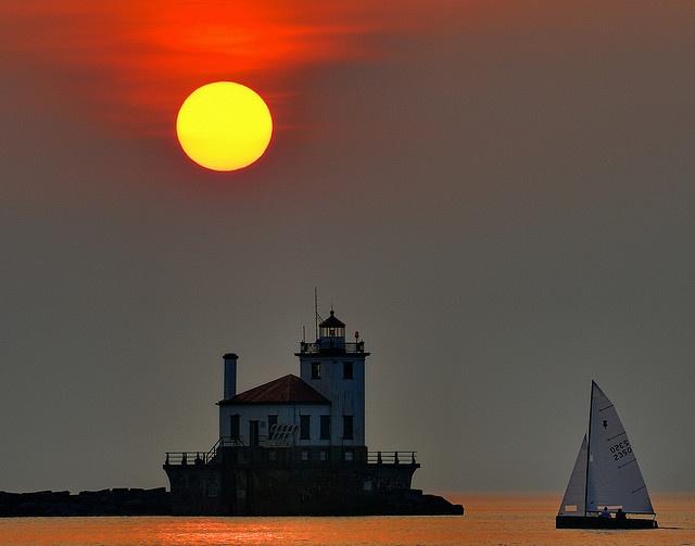 Sunset Over Oswego Lighthouse