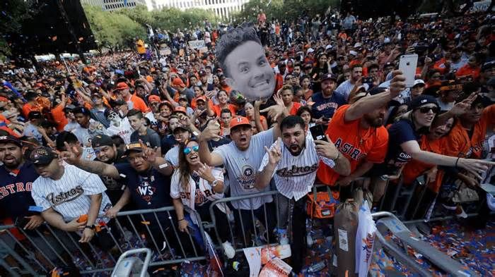 IT'S A CELEBRATION! Houston Astros victory parade and rally turned into epic party World Series MVP George Springer planted the Houston Astros' championship trophy at the front of a fire truck to a cheering crowd as the team began their victory parade Friday, with orange and blue confetti raining down as they passed a potentially record ...