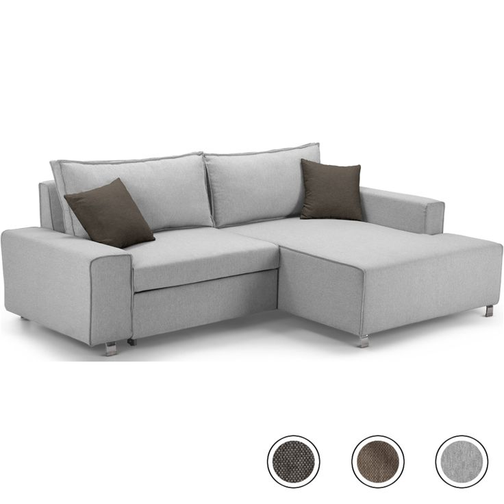 Mayne Right Corner Sofa Bed, Clear Grey Stone from Made.com. Express delivery. The clean modern silhouette and flecked grey upholstery gives this so..