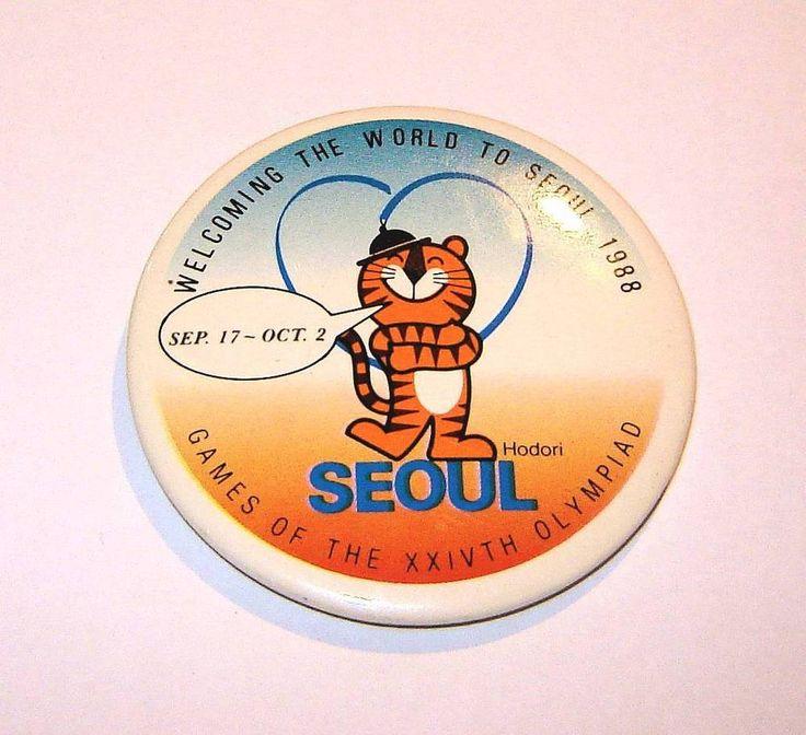 South Korea Seoul 1988 Olympic games big round pin badge  | eBay