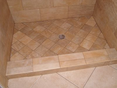 Shower+pan+tile+idea | Tile Ready Shower Pans Single Curb Center Drain