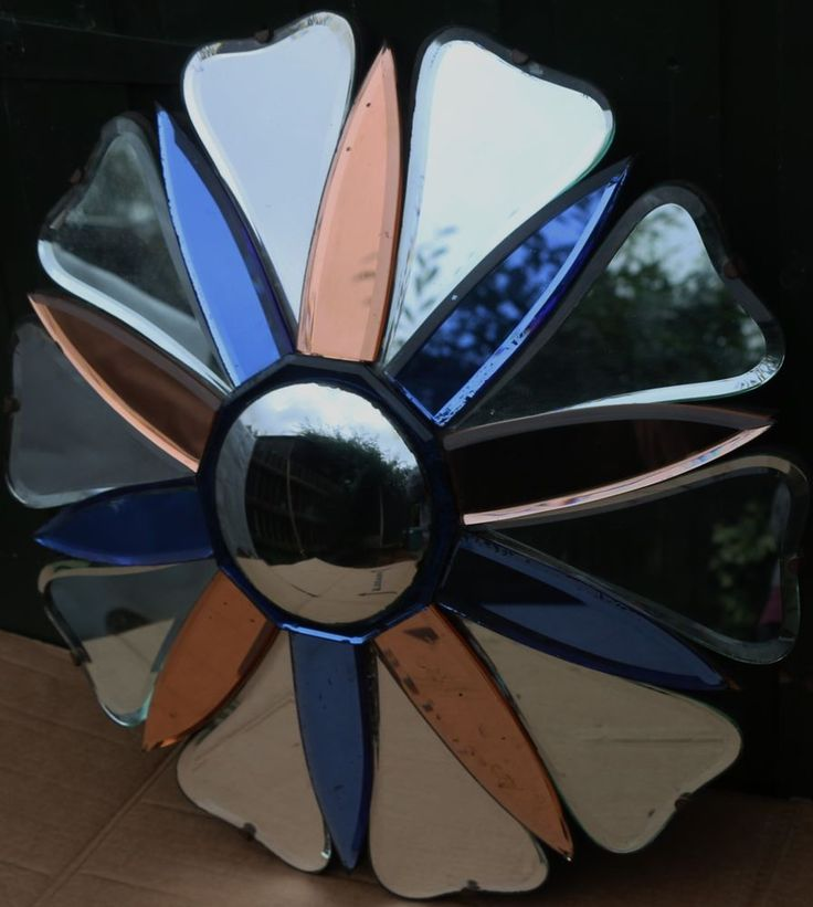 STUNNING UNUSUAL OLD & VERY FANCY 3 COLOUR ART DECO WALL MIRROR