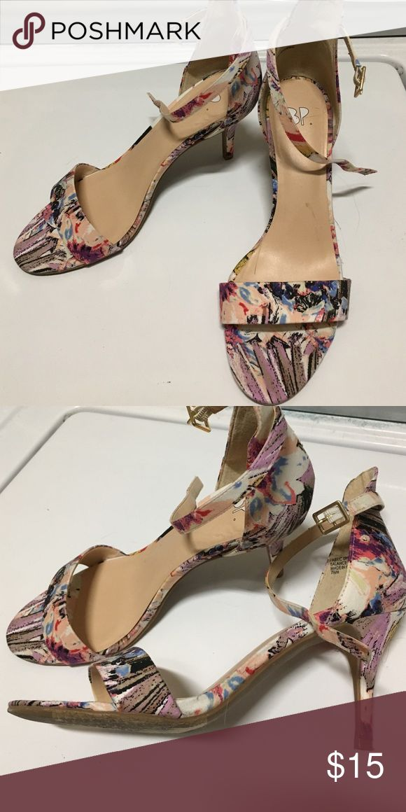 SHIPS TODAY Nordstrom BP floral strappy high heel Really pretty black, blue, light purple, blush, and red floral print high heel. Only worn once! bp Shoes Heels