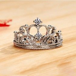 Elegant NSCD Diamond Decorated Crown Women's Ring-USD$ 210.95