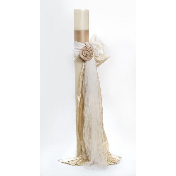 Λαμπάδα Στολισμού Γάμου | Λαμπάδα για στολισμό με τούλια και τριαντάφυλλο υφασμάτινο.
