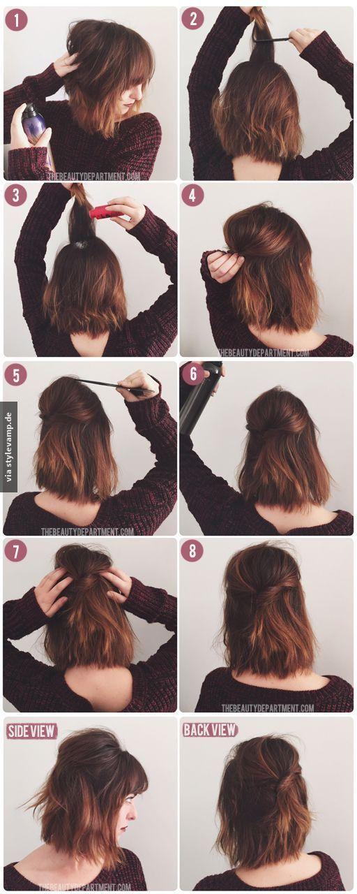 Trendige Frisur für mittellanges Haar