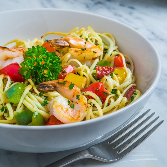 Linguine with Grilled Shrimp and Peppers | Southern Boy Dishes