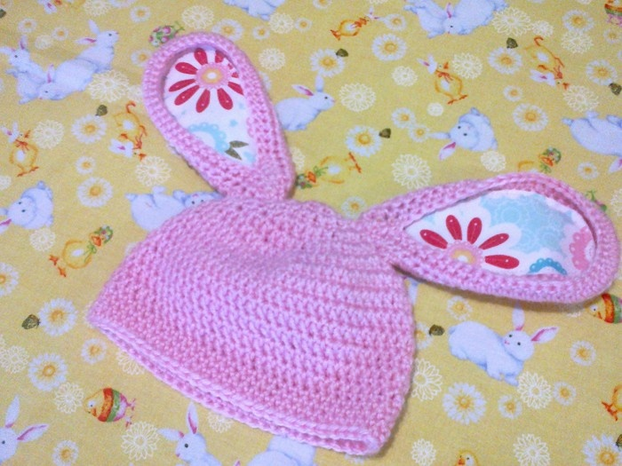 Pink Bunny Beanie with applique earsBunnies Beanie, Pink Bunnies