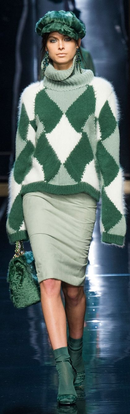 Ermanno Scervino ~ Winter Green Color Block Sweater + Midi Dress 2014-2015 Milan